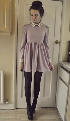 Lavender Dress & black tights