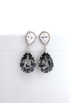 Old Hollywood Wedding Earrings, Gray Earrings, Grey Bridesmaid Earrings, Charcoal Swarovski Earrings, Black Diamond Earrings, Gray Jewelry