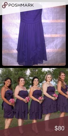 Bridesmaid dress size 4 Purple Strapless bridesmaid dress from David's Bridal. Size 4. Worn once. Excellent condition! David's Bridal Dresses Wedding
