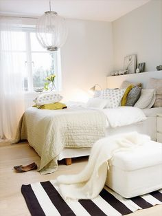 neutral bedroom w/a splash of chartreuse~ ! #Anthropologie #PinToWin What a Dream this would be~* #dreamscometrue :)