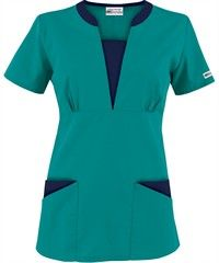 Style # Turquoise w/ Coffee Bean: Butter-Soft Scrubs by UA™ Contrast V-Neck Scrub top Scrubs Outfit, Scrubs Uniform, Scrubs Pattern, Buy Scrubs, Nurse Hairstyles, Green Scrubs, Medical Scrubs, Nurse Scrubs, Scrub Tops