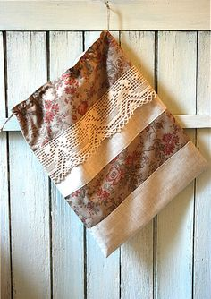 French linen shoe bag lingerie bag drawstring bag by AuFildAntan