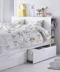 Ikea Bedroom, Room Ideas Bedroom, Bedroom Storage, Bedroom Furniture, Bedroom Decor, Storage Headboard, Master Bedroom, Bedroom Bed, Bed Room