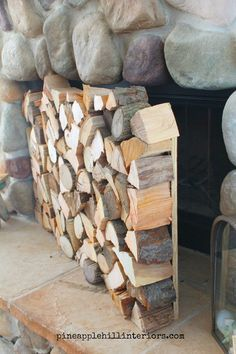 DIY, faux stacked logs fireplace facade, genius! in 11