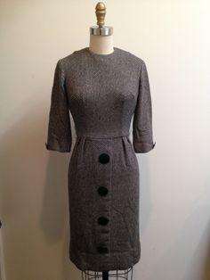 1950's BIG BLACK Button Dress