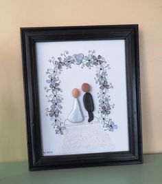 """Pebble and Glass Art Picture """"WEDDING DAY"""" Floral Wedding Arch Framed Original by LakeshorePebbleArt on Etsy"""