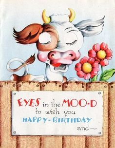 Birthday Card Winking Cow