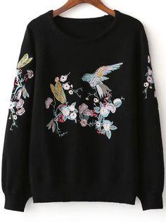 Jersey manga raglán con bordado de pájaro - negro