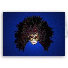 Mask Feathered Head Dress Greeting Card from www.zazzle.com/stevebrownleeart