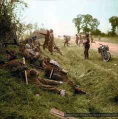 Soldiers of 1st Welsh Guards in action near Cagny during Operation Goodwood, part of the Battle for Caen during the Normandy breakout campaign that followed the D-Day landings.