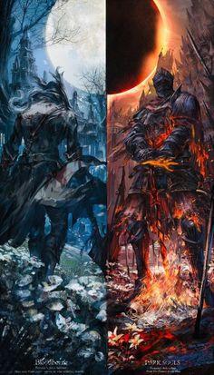 Bloodborne/Dark Souls by Stu_dts : gaming Dark Fantasy Art, Fantasy Artwork, Dark Artwork, Arte Dark Souls, Dark Souls 3 Knight, Bloodborne Art, Arte Obscura, Samurai Art, Soul Art