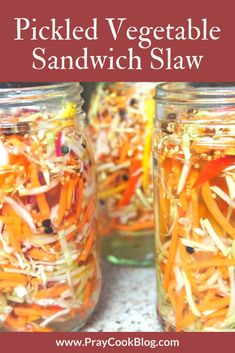 These colors look amazingly delicious. and I'll let you in on a little-known secret - this pickled vegetable sandwich slaw IS delicious! TRY IT TODAY! Pickled Vegetables Recipe, Raw Vegetables, Pickling Vegetables, Pickled Slaw Recipe, Vietnamese Pickled Vegetables, Pickled Fruit, Marinated Vegetables, Pickled Cabbage, Pickled Carrots