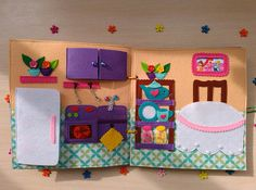 Quiet book with non paper doll Busy book Felt book Dollhouse