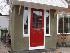 2 Panel 1 Grill Composite Front Door in Red