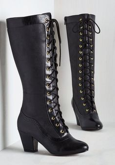 Reign Victorian Boot by Bait Footwear - Black, Solid, Steampunk, Better, Lace Up, Calf, Mid, Faux Leather