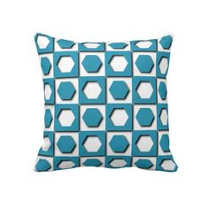 Unique, trendy and pretty throw pillow. Beautiful classic light sky blue, aqua teal turquoise hexagon squares fantasy mosaic design on white. Vintage vector, retro mod pattern for the hip fashion trend setter, modern abstract geometric or nouveau deco art motif lover. Cute birthday gift or fun Christmas present. Elegant, chic, stylish and cool pillow for the master or children's bedroom, dorm, nursery, man cave, living or family room, beach house or vacation home.