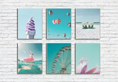 California Print Set/Beach Poster Combo/Icecream Print/Ballon Art/Pink Flamingo Wall Print/Ferris Wheel/Sunbed/Ocean/Vacation/Travel/Trip Vacation Travel, Vacation Trips, As You Like, Just In Case, Frame Download, Beach Posters, International Paper Sizes, Etsy App, Pink Flamingos