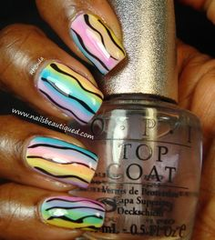 Pastel~Waves Nail Art Design Using OPI Sheer Tints - Nails Beautiqued