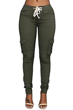 c1ba287a04211 Womens Solid Color Stretch Drawstring Skinny Pants Cargo Joggers (Size  S-XXXL)    You can get additional details at the image link.
