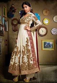 Off #White Faux Georgette #Anarkali Kameez with Palazzo $125