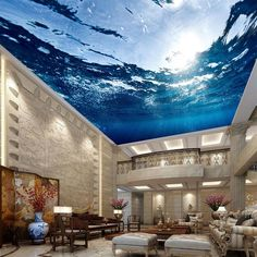 Custom Any Size Mural Wallpaper Underwater World Suspended Ceiling Fresco Living Room Bedroom Ceiling Wall Papers Home Decor Hotel Ceiling, Sky Ceiling, Ceiling Murals, Floor Murals, 3d Wall Murals, Bedroom Ceiling, Living Room Bedroom, Wall Decals, 3d Floor Art