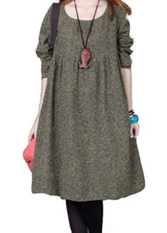 Long Sleeve Floral Print Pocket Design Straight Dress on sale only US$26.37 now, buy cheap Long Sleeve Floral Print Pocket Design Straight Dress at lulugal.com