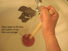 Learn how to unclog a bathtub with a standard household plunger and duct tape. Duct tape is used to seal the overflow opening and seal the drain. Unclog Shower Drains, Unclog Sink, Unclogging Drains, Unclog Bathtub Drain, Bathtub Drain Stopper, Sink Drain, Drain Repair, Drain Pipes