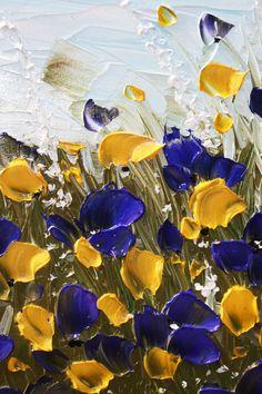 Empâtement lourd moderne violet fleurs jaunes couteau