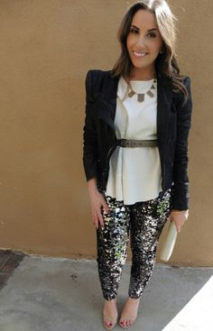 Leather and Sequin Outfit