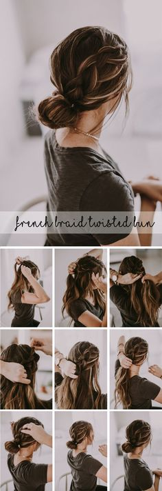 Beautiful french braid twisted bun up-do hairstyle. Perfect dressed up for holid… Beautiful french braid twisted bun up-do hairstyle. Perfect dressed up for holiday parties or paired with your sweatshirt and sneakers! French Braid Buns, Braided Buns, French Braids, French Twists, Messy Buns, Dutch Braids, Bun Braid, Twisted Updo, Bun Updo