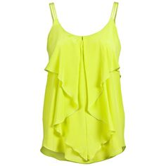 CUT 25 crepe silk tank ($165) ❤ liked on Polyvore featuring tops, shirts, tanks, tank tops, women, ruffle shirt, ruffle tank top, yellow ruffle shirt, sleeveless tank and silk shirt