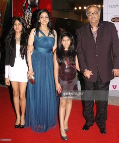 Sridevi with husband Boney Kapoor and daughters to attend the Balaji Television 'Global Indian Film and Television Honors Awards 2011' ceremony in Mumbai.