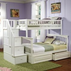 "Columbia Twin over Full Stairway Bunk Bed in White w/ Storage Drawers - Bed Size: Twin/Full Finish: White Frame Material: Eco-Friendly Hardwood Solid hardwood motise and tenon construction 26 Steel Reinforcement Points Designed for durability Includes two 14 piece slat kits Accepts under bed storage drawers or trundle bed Guard rails match panel design Brand: Atlantic Frame Approx. Dimensions: H - 69"", W - 59"", L - 103"",  Distance Between Bed Rails - 34"" www.bunkbeddeals.com"