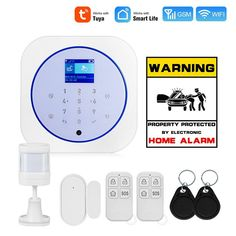 Towode WiFi GSM Wireless Smart Home Security Alarm System 433MHz Tuya APP Android IOS Control Touch keyboard Control product description This alarm is a high-performance intelligent security technology prevention product that uses GSM/3G/4G Wi-Fi dual communication network to transmit alarm information. 1.8-inch TFT color display, menu operation, voice prompts, advanced wireless connection to wireless sensors.The user disarms through the keyboard, remote control, RF card or APP control host. Whe Home Security Alarm System, Smart Home Security, Security Cameras For Home, Alarm Companies, Security Technology, Communication Networks, App Remote, App Control