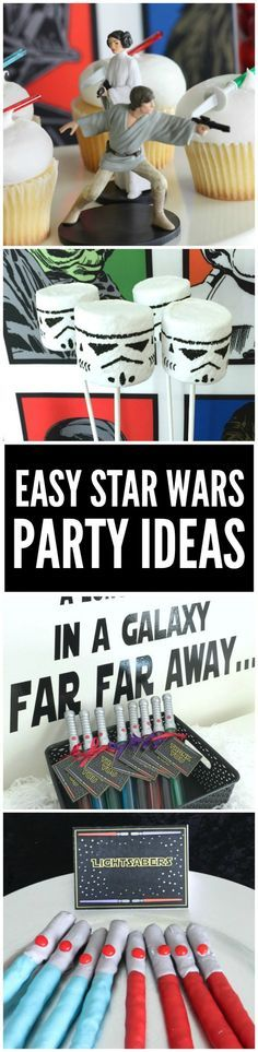 How to throw an easy Star Wars party  + Star Wars free party printables. This post has great Star Wars dessert table party ideas including lots of fun themed items.   CatchMyParty.com