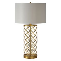 This lamp features a delicate Morrocan design in gold leaf with a crip white drum shade. The lamp is the perfect statement piece in any room of your home.