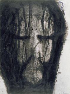 Arnulf Rainer (Austrian, born 1929) Christ's Head, 1980 Watercolor, ink on photography, 39,2 x 29,6 cm