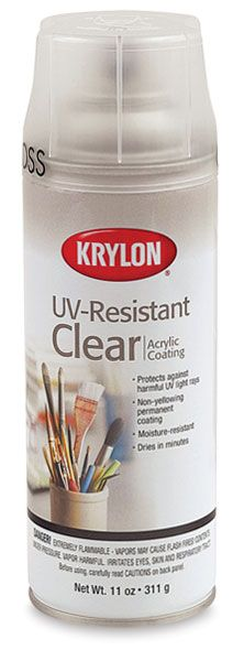 Krylon UV-Resistant Archival Spray, Gloss. Cover my finished Yupo paintings with this product once it is dry.