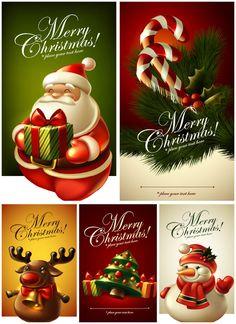 Beautiful Christmas cards vector set 2