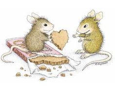 House Mouse being give a chocolate heart.