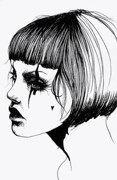 Bob Girl by David Bray Metallica, Fade To Black, Black And White Drawing, How To Draw Hair, Heart Art, Graphic Illustration, Illustration Pictures, Face Art, Art Google