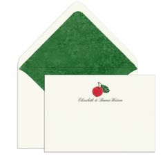 Elegant Note Cards with Engraved Red Apple