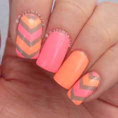 cool 80 Cute and Easy Nail Art Designs That You Will Love - Nail Polish Addicted Chevron Nails, Neon Nails, Love Nails, Pink Nails, My Nails, Chevron Tape, Emoji Nails, Bright Nails, Rainbow Nails