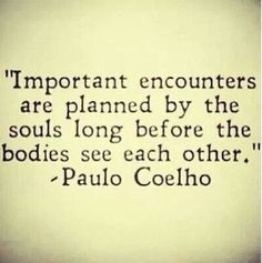 Important encounters are planned by the souls long before the bodies see each other. Paulo Coelho (quotes about life, inspirational quotes, motivational quotes, love quotes) Inspirational Quotes About Love, Great Quotes, Quotes To Live By, Me Quotes, Change Quotes, Quotes On Soulmates, Romance Quotes, Strong Quotes, Attitude Quotes