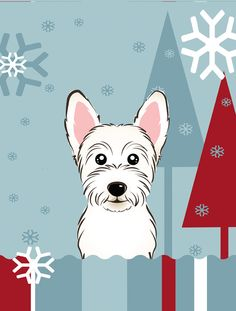 Winter Holiday Westie Vertical Flag