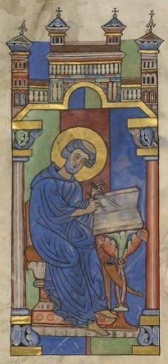 Saint Mathieu, Bible de Worms, Allemagne du centre, 3ème quart du XIIe siècle, Londres, British library Harley 2804 folio 172v