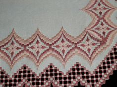 Coffeebean's Dailies: Hardanger Bargello Table Runner { This pattern is from Vaughnie's Visions II, A touch of Metallic. Broderie Bargello, Bargello Needlepoint, Needlepoint Patterns, Cross Stitch Patterns, Embroidery Designs, Types Of Embroidery, Learn Embroidery, Ribbon Embroidery, Cross Stitch Material
