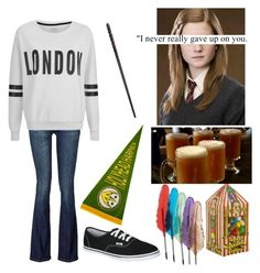 """Ginny Weasley"" by fashionablehottie25 on Polyvore featuring 7 For All Mankind, ONLY, Vans and Bertie"