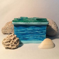 Sea Glass Painted Wood Box by CraftCharms on Etsy