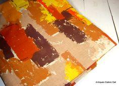 Vintage Retro Mod Fabric Orange Yellow Brown by AntiquesGaloreGal